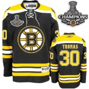 Reebok Tim Thomas Boston Bruins Youth Home Authentic With 2011 Stanley Cup Champions Jersey - Black