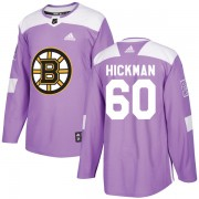 Adidas Justin Hickman Boston Bruins Authentic Fights Cancer Practice Jersey - Purple