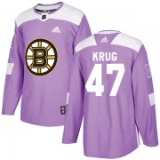 Adidas Torey Krug Boston Bruins Authentic Fights Cancer Practice Jersey - Purple
